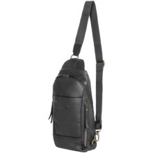 Dopp SoHo Leather Sling Backpack in Black - Closeouts