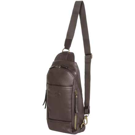 Dopp SoHo Leather Sling Backpack in Brown - Closeouts