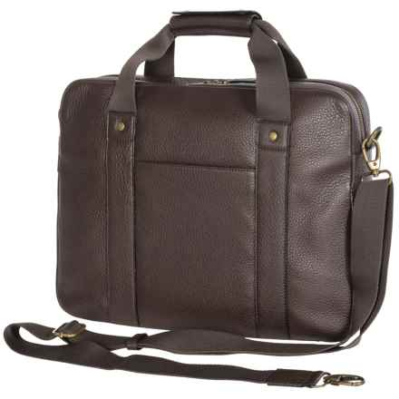 Dopp Soho Slim Laptop Briefcase - Leather in Brown - Closeouts