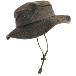 Dorfman Pacific Headwear Boonie Hat - Weathered Cotton, UPF 50+ (For Men and Women) in Brown