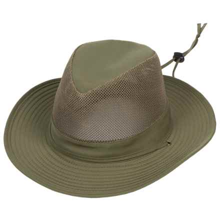 Dorfman Pacific Headwear Dorfman Pacific Microfiber Mesh Crown Safari Hat - UPF 50+ (For Men) in Olive - Closeouts