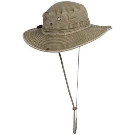 Dorfman Pacific Pigment-Dyed Twill Trail Boonie Hat (For Men and Women) in Khaki - Closeouts