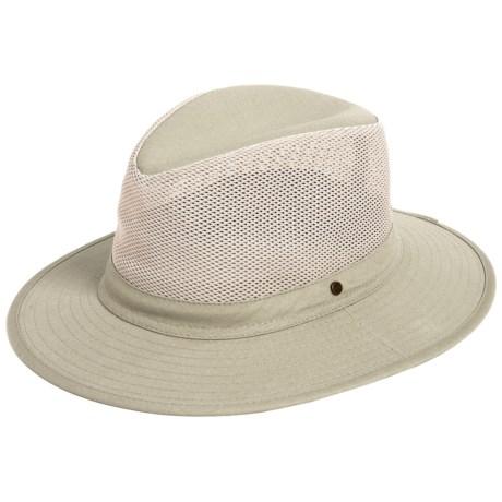 Dorfman Pacific Safari Hat - Mesh Crown (For Men) in Khaki
