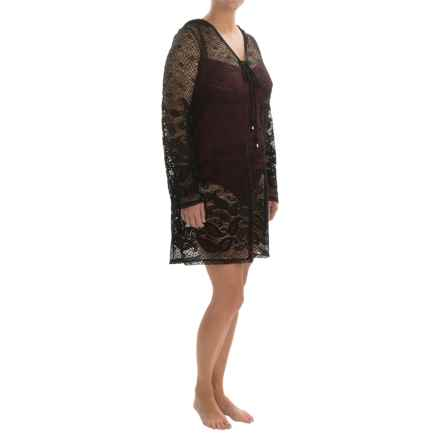 Dotti Beach Plus Rivera Paisley Swimsuit Cover-Up Tunic - Long Sleeve (For Women and Plus Size Women) in Black - Closeouts