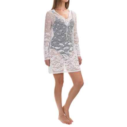 Dotti Beach Plus Rivera Paisley Swimsuit Cover-Up Tunic - Long Sleeve (For Women and Plus Size Women) in White - Closeouts
