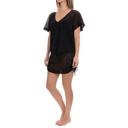 Dotti Cool Crochet Shirred Swimsuit Cover-Up Tunic - Short Sleeve (For Women) in Black - Closeouts