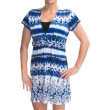 Dotti Macrame Swimsuit Cover-Up Dress - V-Neck, Short Sleeve (For Women) in Blue/White - Closeouts