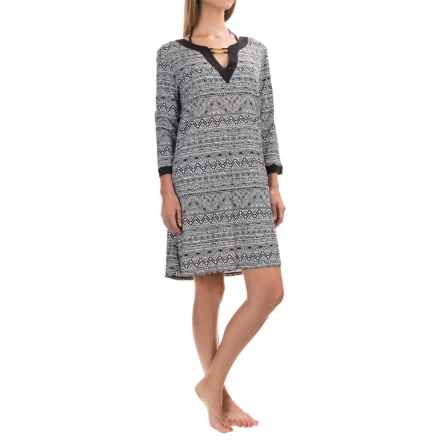 Dotti On The Border Swimsuit Cover-Up Dress - Long Sleeve (For Women) in Black/White - Closeouts