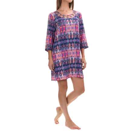 Dotti Printed Swimsuit Cover-Up Tunic - Long Sleeve (For Women) in Pink - Overstock