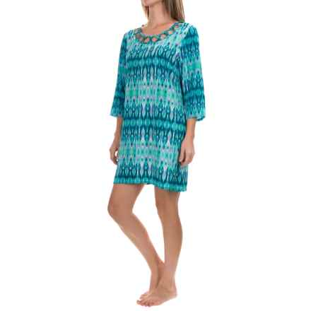 Dotti Printed Swimsuit Cover-Up Tunic - Long Sleeve (For Women) in Teal - Overstock