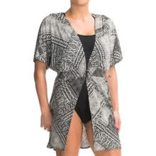 Dotti Three-Button Swimsuit Cover-Up Dress - V-Neck, Batwing Short Sleeve (For Women) in Black/Cream - Closeouts