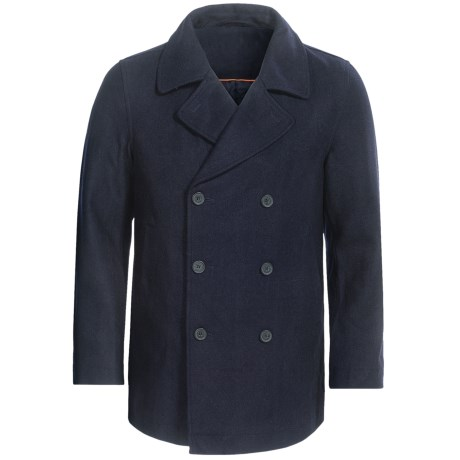 Double-Breasted Pea Coat - Wool Blend, Insulated (For Men) in Navy