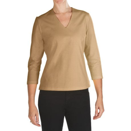 Double Front V-Neck Shirt - Stretch Cotton, 3/4 Sleeve (For Women) in Coffee