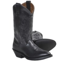 "Double H 12"" Smooth Leather Cowboy Boots - R-Toe (For Women) in Black - Closeouts"