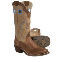 Double H Shoulder Buckaroo Boots - Leather, Square Toe (For Men) in Rust/Nugget