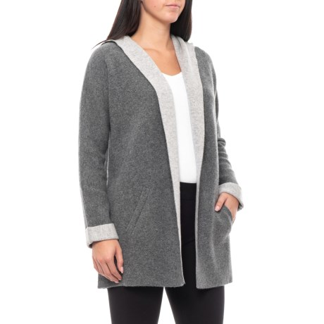 Image of Double-Knit Hooded Cardigan Sweater - Cashmere (For Women)