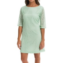 Double-Layer Lace Dress - 3/4 Sleeve (For Women) in Mint - 2nds