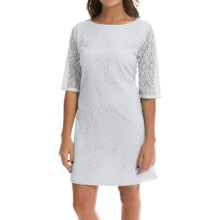 Double-Layer Lace Dress - 3/4 Sleeve (For Women) in White - 2nds