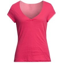 Double-Layer V-Neck Shirt - Short Sleeve (For Women) in Red - 2nds