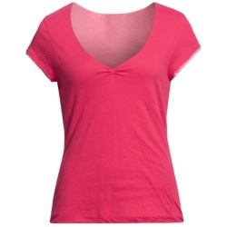 Double-Layer V-Neck Shirt - Short Sleeve (For Women) in Red