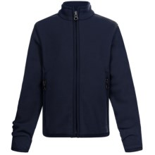 Double-Sided Fleece Jacket - Full Zip (For Little Girls) in Navy - 2nds