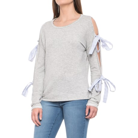 Double-Tie Cold Sleeve Pullover Shirt - Long Sleeve (For Women)
