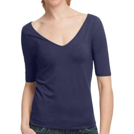 Double V-Neck Jersey Shirt - Elbow Sleeve (For Women) in Navy