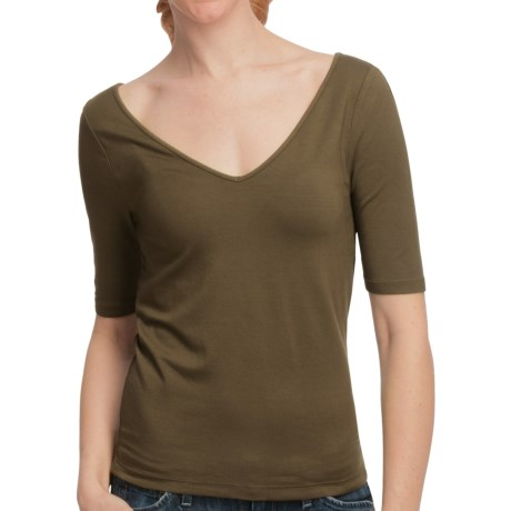 Double V-Neck Jersey Shirt - Elbow Sleeve (For Women) in Olive