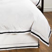 DownTown Chelsea Bed Skirt - Twin, 400 TC Cotton Sateen in White / Black - Closeouts