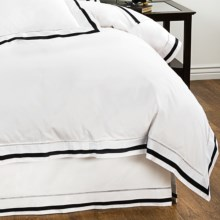 DownTown Chelsea Duvet Cover - Queen, 400 TC Cotton Sateen in White / Black - Closeouts