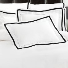 DownTown Chelsea Pillow Shams - King, 400 TC Cotton Sateen, Set of 2 in White / Black - Closeouts