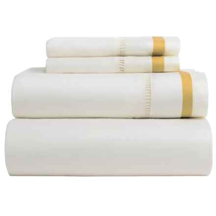 DownTown Chelsea Sheet Set - King, 400 TC Cotton Sateen in Ivory/Gold - Closeouts