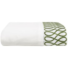 DownTown Designer Flat Sheet - King, 400 TC Cotton Percale in Green  Embroidery - Closeouts