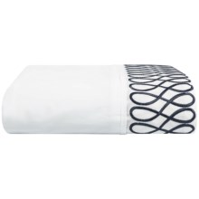 DownTown Designer Flat Sheet - Queen, 400 TC Cotton Percale in Navy Embroidery - Closeouts