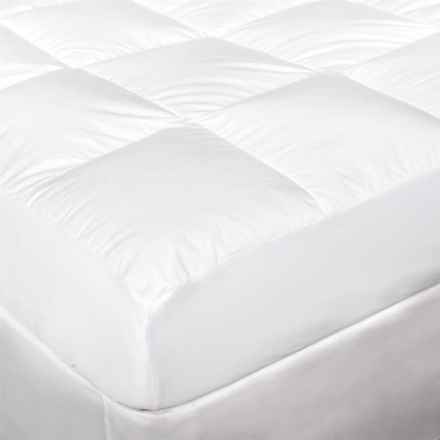 "DownTown Down-Filled Mattress Pad - Full, 18"" Skirt in White - Overstock"