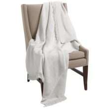 DownTown Fringed Cotton Blend Throw Blanket in White - Closeouts