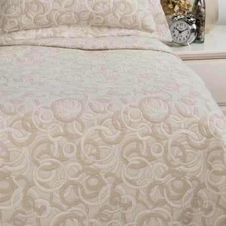 DownTown Geo Matelasse Coverlet Blanket - Queen, Cotton Percale in Taupe - Closeouts