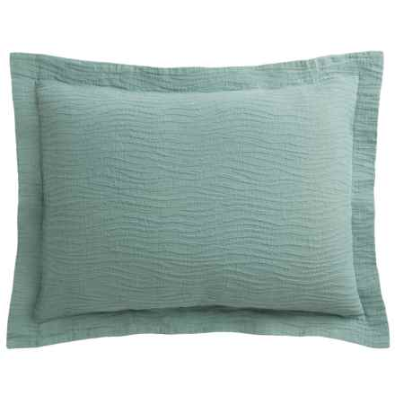 DownTown Geo Matelasse Pillow Sham - Euro, Cotton Percale in Aqua - Closeouts
