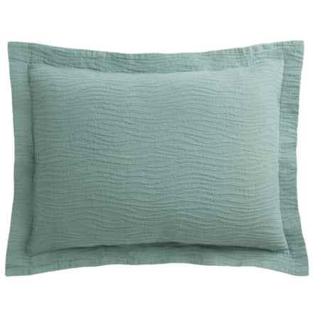 DownTown Geo Matelasse Pillow Sham - Euro, Egyptian Cotton in Aqua - Closeouts