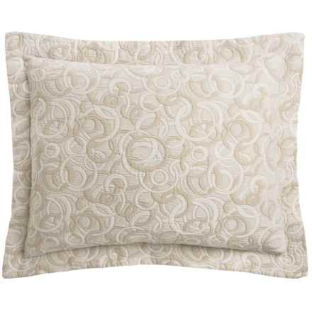 DownTown Geo Matelasse Pillow Sham - Euro, Egyptian Cotton in Geo Taupe - Closeouts