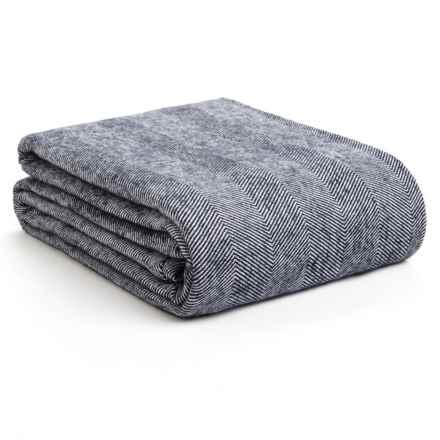 DownTown Herringbone Blanket - Queen, Egyptian Cotton in Navy - Overstock