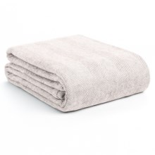 DownTown Herringbone Blanket - Twin, Egyptian Cotton in Taupe - Overstock