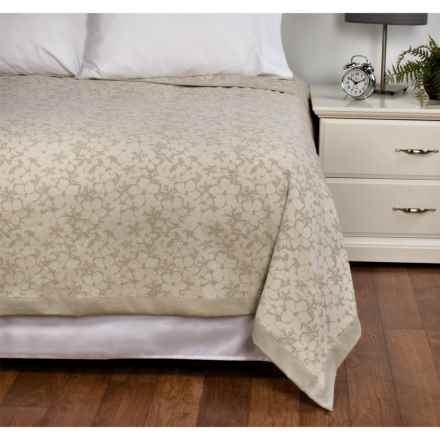 DownTown Kasey Abstract Floral Cotton Blanket - King in Ivory / Taupe - Overstock