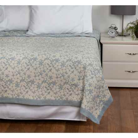 DownTown Kasey Abstract Floral Cotton Blanket - Queen in Ivory / Blue - Overstock