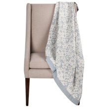 DownTown Kasey Abstract Floral Cotton Throw Blanket in Ivory / Blue - Overstock