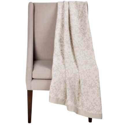 DownTown Kasey Abstract Floral Cotton Throw Blanket in Ivory / Taupe - Overstock