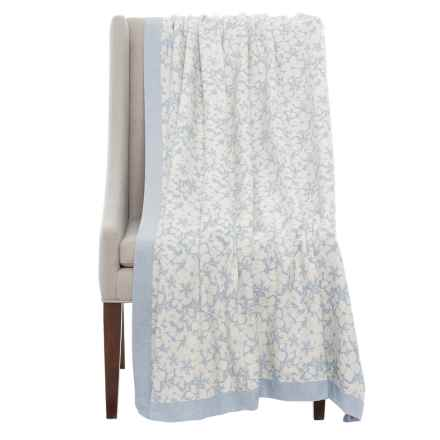 DownTown Kasey Floral Throw Blanket in Ivory/Blue - Closeouts