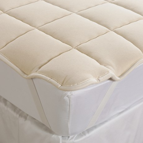 DownTown Mattress Pad - Queen, Merino Wool Fill, Anchor Bands in Natural
