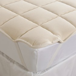 DownTown Mattress Pad - Twin, Merino Wool Fill, Anchor Bands in Natural