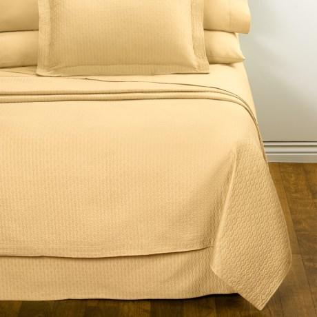 DownTown Paula Matelasse Bed Skirt - King, Mercerized Cotton in Butter